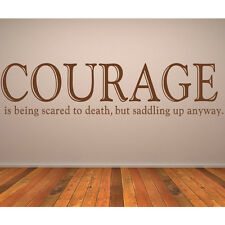 Courage Is Being Scared To Death Wall Sticker Horse Quote Wall Decal Art