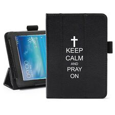 "For Samsung Galaxy Tab 3 7.0 7"" Leather Cover Stand Keep Calm and Pray On Cross"