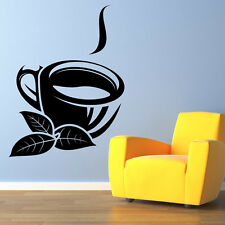 Tea Cup And Leaves Wall Sticker Tea Cup Wall Decal Art