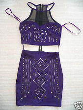 NWT bebe purple mesh cutout waist studs sexy bodycon skirt top dress XS S M L XL