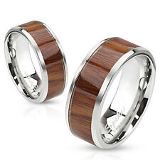 Mens/Womens Stainless Steel Wood Inlay Band Ring/Wedding/Couples/Size 5-13(3040)