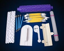 Fondant Cake Smoother Rolling Pin Modelling Icing Tools Sugarcraft Cutter Set #M