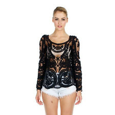 Women Sheer Embroidery Floral Lace Crochet Vest Tank Top Tee Shirt Blouse S-XXL