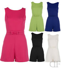 NEW WOMENS LADIES TAILORED BOW DETAILED SLEEVELESS PARTY PLAYSUIT (SIZES 6-14)