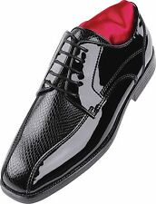 MEN's After Six A6048 Tuxedo Formal Dress Shoes Black Patent Matte Snakeskin