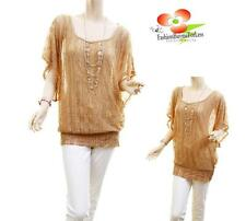 Women PLUS Taupe Sheer Royal Scroll Laced Tunic Blouse Shirt Top + Necklace Jew