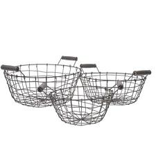 Vintage Round Wire Basket Grey Wire