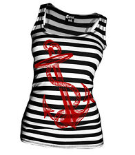 Cartel Ink ANCHORS AWEIGH BLACK AND WHITE STRIPE ribbed beater nautical tank