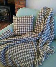 PURE NEW WOOL BRONTE  THROW - NATURAL/CHOCOLATE HOUNDSTOOTH CHECK