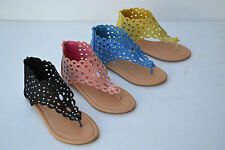 LC-C Girl Thong Gladiator Sandals back Zipper Youth Flat Shoes Size 9~4