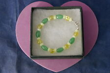 Beautiful Bracelet With Jade And Yellow Agate Gems 8 Inches Long In Gift Box