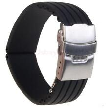 Men Black Silicone Rubber WATCH STRAP BAND Deployment Buckle 18MM,20MM,22MM,24MM