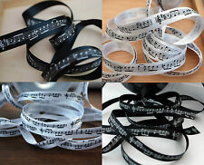 Musical Notes Ribbon Double Satin 10mm (3/8), 15mm (5/8), Black and White