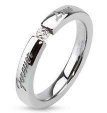 """Womens Stainless Steel Engraved""""Forever Love""""Tension Set CZ Ring Size 5-10(3099)"""