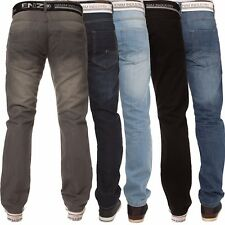 New ENZO Mens Basic Designer Straight Regular Leg Blue Denim Jeans All Waist