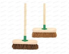 "10"" Sweeping Brush with Handle Stiff Bassine Soft Coco Set Shafted Yard Broom"