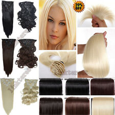 USA Long Curly Straight Full head clip ins on hair extensions factory price lts
