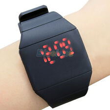 New Exquisite Unisex Touch Digital Red Led Silicone Ultra-Thin Wrist Watch BGAU