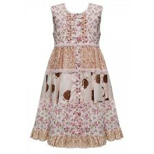 DOMINO GIRLS COTTON MULTI FLORAL PRINT LACE TRIM FISH TAIL SUMMER PARTY DRESS