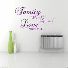 FAMILY LOVE LIFE Wall Art Sticker Lounge Hall Quote Decal Mural Transfer Sticker
