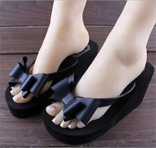 2014 Ladies Summer Platform Flip Flops Thong Wedge Beach Sandals Knotbow Shoes W