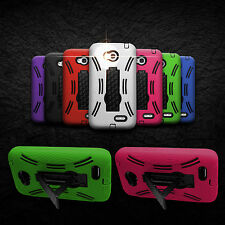 For LG Optimus L70 - Protective Dual Layer Kickstand Hybrid Phone Cover Case