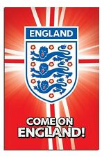 Official Come On England Poster Football World Cup New 3 Lions 24 x 36 Inches