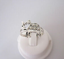 925 Sterling silver ELEPHANT with Flowers ring
