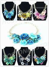 Fashion charm 3D-Flower Chain Crystal Choker Chunky Statement Bib Necklace Mixed