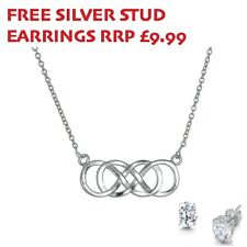 Sterling Silver double Infinity Necklace WITH FREE STUDS RRP £9.99