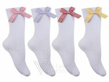 Girls Childrens Gingham Bow School Socks White Calf Length Ankle Stretch Check