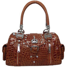 LYDC Croc Animal Print (Moc Crocodile Effect) Patent Leather Diamante Handbag
