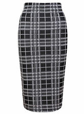 BRAND NEW LADIES EX TOPSHOP BLACK WHITE CHECK PENCIL OFFICE SKIRT SIZE 6-12