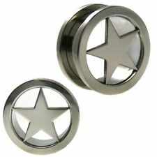 BDJ0054 Double Flare Screw on Surgical Steel Star Ear Plugs for men and women