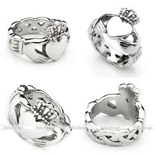 Men Women Stainless Steel Irish Claddagh Promise Friendship Finger Band Ring Hot