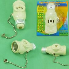 Light Bulb E27 Switch and Socket with on/off Pull Chain with 2 Prong  2 Outlet