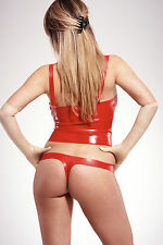 NEW Red Latex Rubber Unisex Long Line Bra (ENGLISH) S M L XL