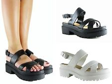 LADIES WOMENS CHUNKY WEDGE CLEATED SOLE STRAPPY PLATFORM PEEP TOE SANDAL SHOE