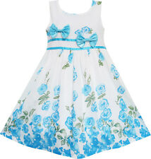 Flower Girls Dress Blue Double Bow Tie Party Pageant Kid Baby Dress Size 4-12