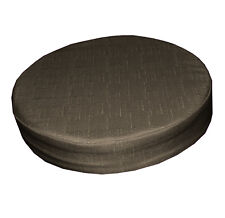 Qh13r Middle Brown Thick Cotton Blend 3D Round Seat Cushion Cover Custom Size