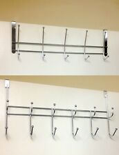 Chrome Over The Door Coat Hanger Clothes Towel Storage Rack 10 or 12 Hooks