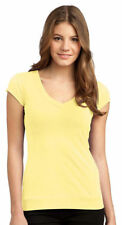 District Women's Fourty Singles Banded V Neck Stretchy T-Shirt. DT247