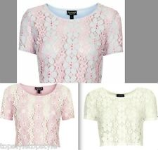 NEW TOPSHOP 3 COLOUR PRETTY LACE CROCHET BLOUSE TEE/TOP  OUT OF STOCK in  STORE