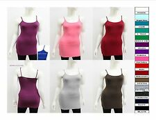 "23.5"" Cami With Built In Bra Adjustable Spaghetti Strap Tank Top Junior Women"