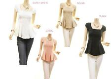 Famous CELEBRITY Peplum Cap Sleeves Lace Ponte Stretch Knit Fit Blouse Shirt Top