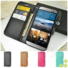 Luxury Leather Flip Card Wallet Stand Case Cover Skin For HTC ONE M8