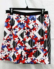 PETER PILOTTO FOR TARGET BLACK RED WHITE FLORAL CHECK PRINT SKIRT (7-P/10-O)