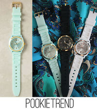 ANTHROPOLOGIE VISCID WATCH RUBBER JELLY MINT BLK WHITE BUY ONE GET ONE FREE!