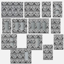Black and White Floral Damask Hand Made Light Switchplates & Wall Outlet Covers