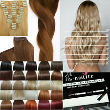 """13-24"""" Thick Delue Double Wefted clip in human Remy real human hair extensions"""